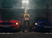 Smoky garage mustangs and hot babe in lingerie
