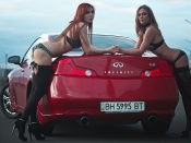 Stockings babes and infiniti g35 car