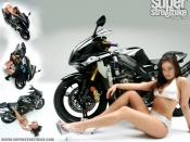 Summer Morgan in bikini and one hot superbike wallpaper