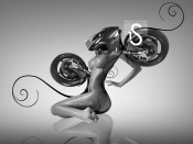 The bike transformer, girl turninto a bike, artwork, nude model, motorcycle, design, morph, technology