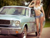 The Blonde Redneck, ford mustang, babes and cars, sexy blonde, hot legs model, sexy girl, sweet model
