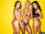 Three pornstars in lingerie