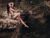 Topless in the woods, glamour, hot babe, sexy legs, grunge, style, hot babe