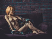 Topless relaxed blonde, sexy model,Mihaela Cazac, hot tits, nipples, nude, naked, fit, skinny