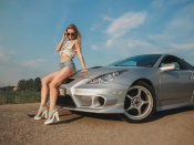 Toyota Celica and hot blonde teen model