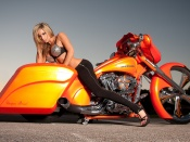 virginia hughes, sexy model, hot body, skinny, harley davidson, custom bike, chopper, girl and bike, motorcycle babe, beauty