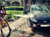 Washing Cars in Style, babes and cars, brunette, beauty, short pants, hot, mazda