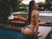 Wet Brunette Bikini, sexy ass, hot butt, swimsuit, hottie, natural, curvy babe, model, erotic