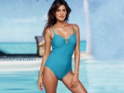 Yamila Diaz blue swimsuit photo wallpaper
