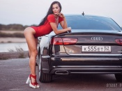 Yulia Chekanova, AUDI A6 , sexy model, hot legs, bikini, swimsuit, brunette, girls and cars, babes and automobiles, russia, hot ass