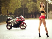 Yulia Gerasimova hot ass babe and Honda CBR