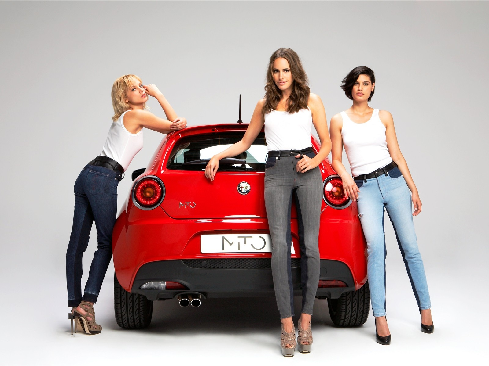 Alfa Romeo Mito And Long Legged Girls Models In Jeans Commercial Photo Wallpaper -9530