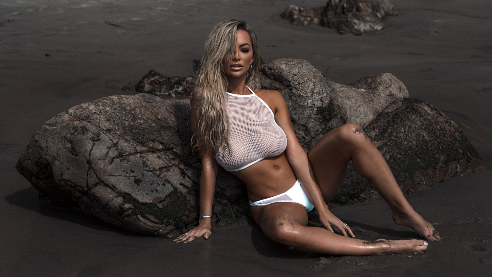 Lindsey Pelas busty blonde playmate on the beach in a hot ...