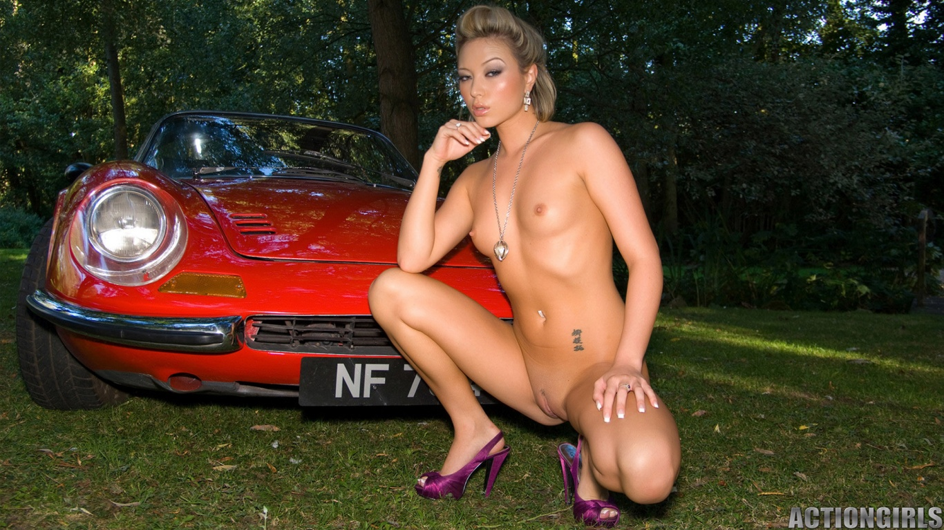 natalie forrest naked next to a classic red ferrari 1366x768 nude