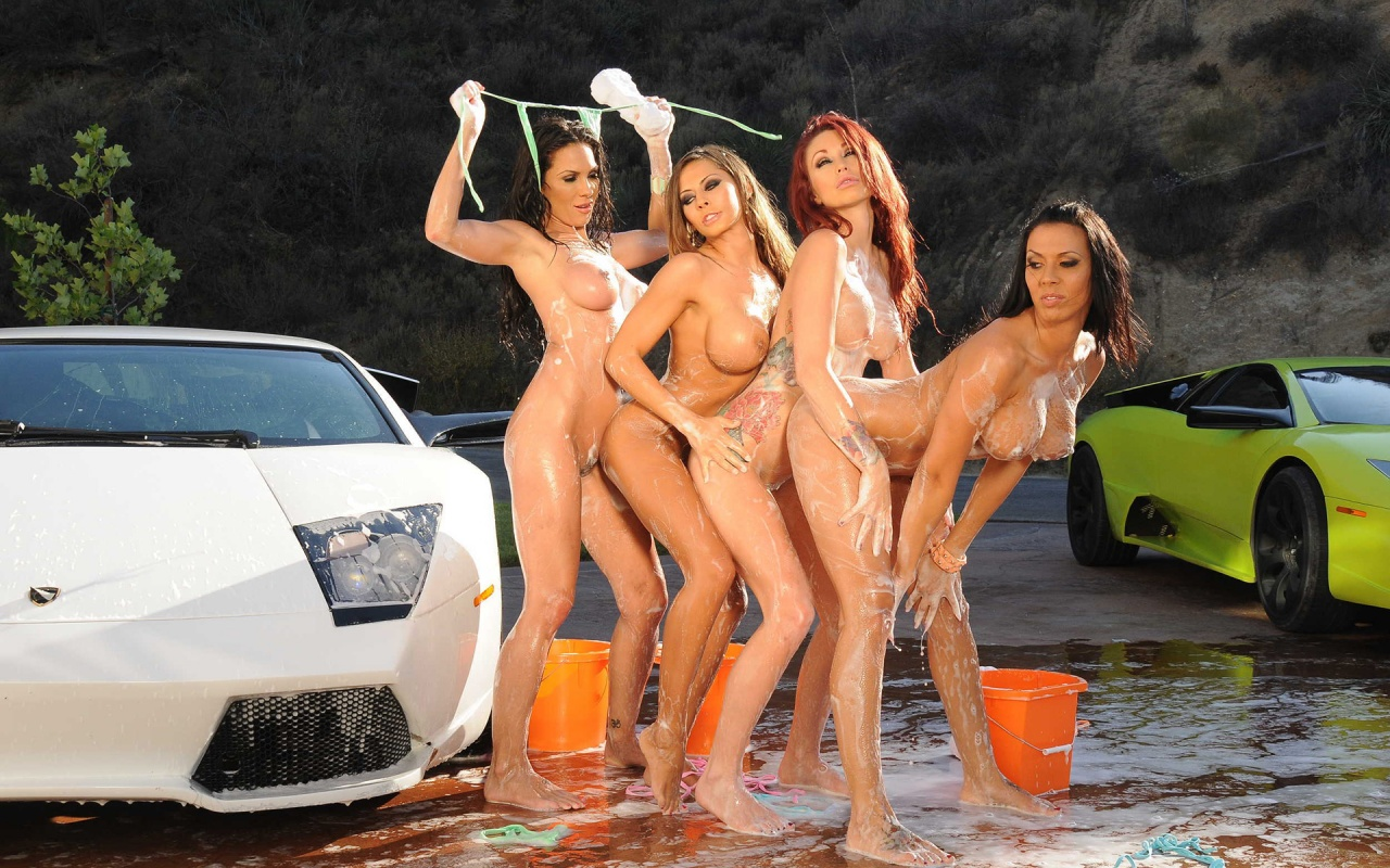 Naked women wash car that